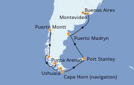 Itinéraire de la croisière Amérique du Sud 15 jours à bord du Coral Princess