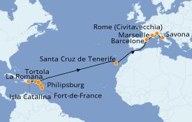 Itinéraire de la croisière Caraïbes de l'Est 21 jours à bord du Costa Magica