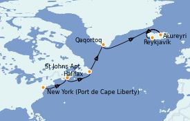 Itinéraire de la croisière Exploration polaire 13 jours à bord du Celebrity Summit