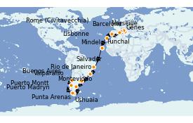 Itinéraire de la croisière Tour du Monde 2022 38 jours à bord du MSC Poesia