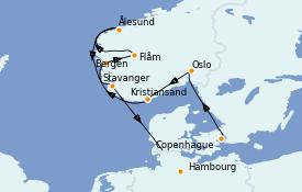 Itinéraire de la croisière Fjords & Norvège 11 jours à bord du Silver Whisper