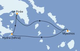 Itinéraire de la croisière Grèce & Adriatique 4 jours à bord du Star Flyer