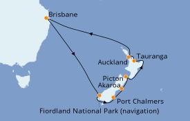 Itinéraire de la croisière Australie 2020 15 jours à bord du Sun Princess