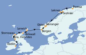 Itinéraire de la croisière Fjords & Norvège 12 jours à bord du L'Austral
