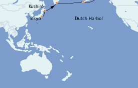 Itinéraire de la croisière Alaska 15 jours à bord du Silver Muse