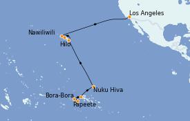 Itinéraire de la croisière Hawaii 19 jours à bord du Regatta