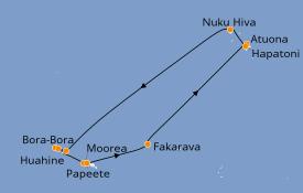 Itinéraire de la croisière Polynésie 15 jours à bord du Paul Gauguin
