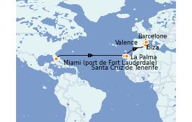 Itinéraire de la croisière Transatlantiques et Grands Voyages 2022 15 jours à bord du Vision of the Seas