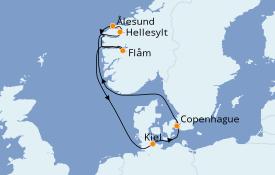 Itinéraire de la croisière Fjords & Norvège 8 jours à bord du MSC Virtuosa