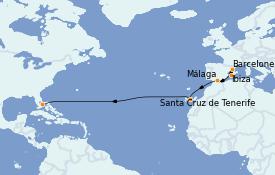 Itinéraire de la croisière Transatlantiques et Grands Voyages 2022 13 jours à bord du Vision of the Seas