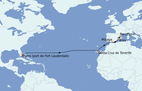 Itinéraire de la croisière Transatlantiques et Grands Voyages 2022 12 jours à bord du Vision of the Seas