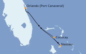 Itinéraire de la croisière Bahamas 4 jours à bord du Independence of the Seas