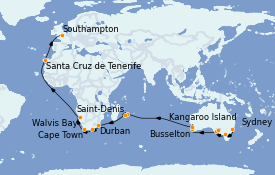 Itinéraire de la croisière Australie 2023 43 jours à bord du Queen Mary 2