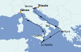 Itinéraire de la croisière Méditerranée 9 jours à bord du Costa Luminosa