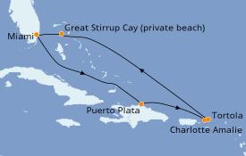 Itinéraire de la croisière Caraïbes de l'Est 8 jours à bord du Norwegian Sky