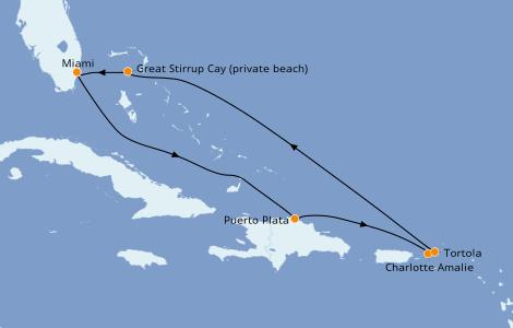 Itinéraire de la croisière Caraïbes de l'Est 7 jours à bord du Norwegian Sky
