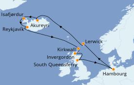 Itinéraire de la croisière Îles Britanniques 14 jours à bord du MSC Preziosa