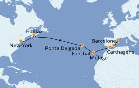 Itinéraire de la croisière Méditerranée 14 jours à bord du Carnival Radiance