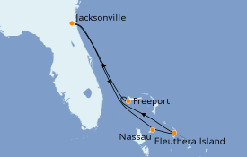 Itinéraire de la croisière Bahamas 7 jours à bord du Carnival Ecstasy