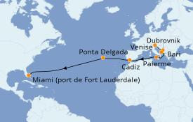 Itinéraire de la croisière Méditerranée 20 jours à bord du Pacific Princess