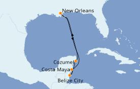 Itinéraire de la croisière Caraïbes de l'Ouest 7 jours à bord du Carnival Valor