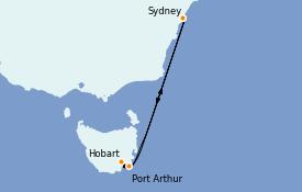 Itinéraire de la croisière Australie 2023 6 jours à bord du Carnival Splendor