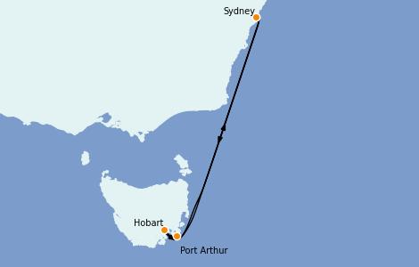 Itinéraire de la croisière Australie 2023 5 jours à bord du Carnival Splendor