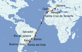 Itinéraire de la croisière Transatlantiques et Grands Voyages 2022 23 jours à bord du Costa Favolosa