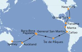 Itinéraire de la croisière Tour du Monde 2021 35 jours à bord du Sea Princess