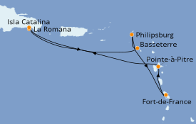 Itinéraire de la croisière Caraïbes de l'Est 8 jours à bord du Costa Magica