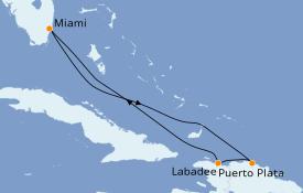 Itinéraire de la croisière Caraïbes de l'Est 6 jours à bord du Celebrity Infinity