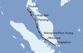 Itinéraire de la croisière Asie 9 jours à bord du Costa Fortuna
