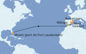 Itinéraire de la croisière Transatlantiques et Grands Voyages 2021 15 jours à bord du Vision of the Seas