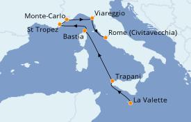 Itinéraire de la croisière Méditerranée 9 jours à bord du Seabourn Encore