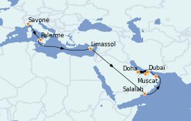 Itinerario de crucero Dubái 21 días a bordo del Costa Firenze