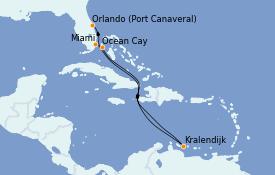 Itinéraire de la croisière Caraïbes de l'Est 9 jours à bord du MSC Meraviglia