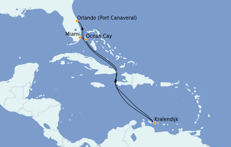 Itinéraire de la croisière Caraïbes de l'Est 8 jours à bord du MSC Meraviglia