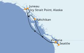 Itinéraire de la croisière Alaska 8 jours à bord du Norwegian Joy