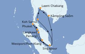Itinéraire de la croisière Asie 15 jours à bord du Costa Fortuna