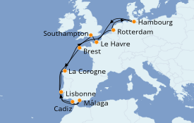 Itinéraire de la croisière Méditerranée 15 jours à bord du MSC Preziosa