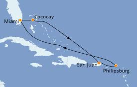 Itinéraire de la croisière Caraïbes de l'Est 8 jours à bord du Oasis of the Seas