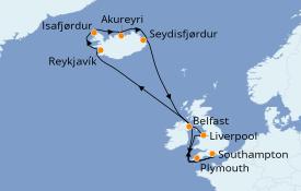 Itinéraire de la croisière Îles Britanniques 16 jours à bord du Azamara Pursuit
