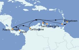 Itinéraire de la croisière Caraïbes de l'Est 15 jours à bord du Rhapsody of the Seas