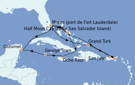 Itinerario de crucero Caribe del Este 15 días a bordo del ms Zuiderdam