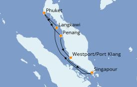 Itinéraire de la croisière Asie 8 jours à bord du Costa Mediterranea