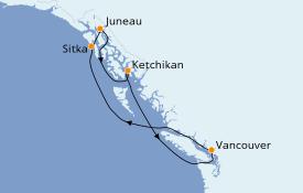 Itinéraire de la croisière Alaska 8 jours à bord du ms Noordam