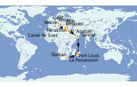Itinéraire de la croisière Transatlantiques et Grands Voyages 2021 27 jours à bord du MSC Lirica