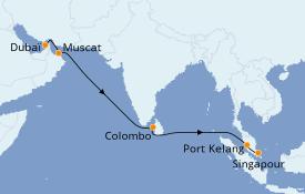 Itinéraire de la croisière Dubaï - Emirats 12 jours à bord du Regal Princess
