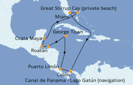 Itinéraire de la croisière Caraïbes de l'Ouest 13 jours à bord du Norwegian Pearl