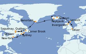 Itinéraire de la croisière Tour du Monde 2023 22 jours à bord du Coral Princess